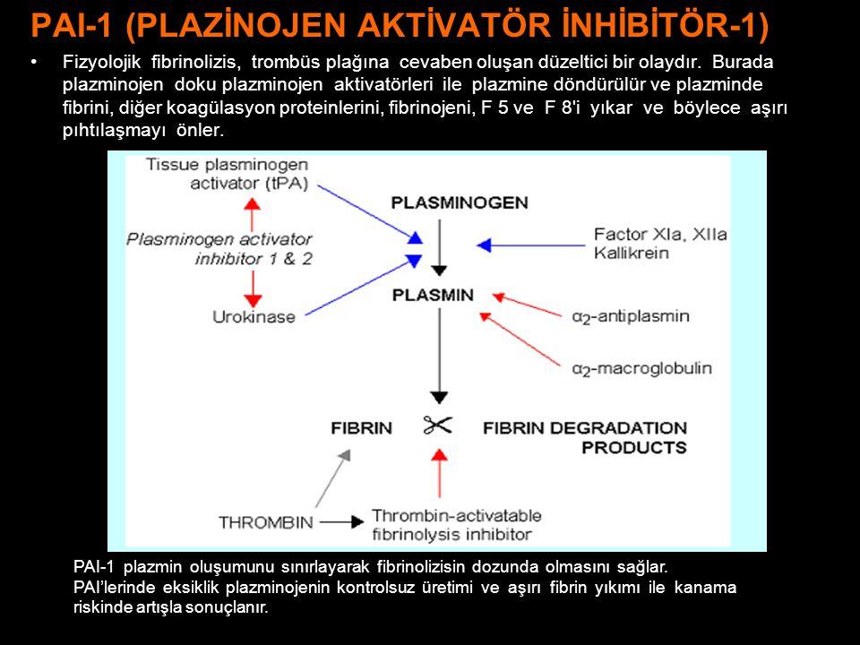 PAI-1 (PLAZİNOJEN AKTİVATÖR İNHİBİTÖR-1) Fizyolojik fibrinolizis, trombüs plağına cevaben oluşan düzeltici bir olaydır. Burada plazminojen doku plazmi