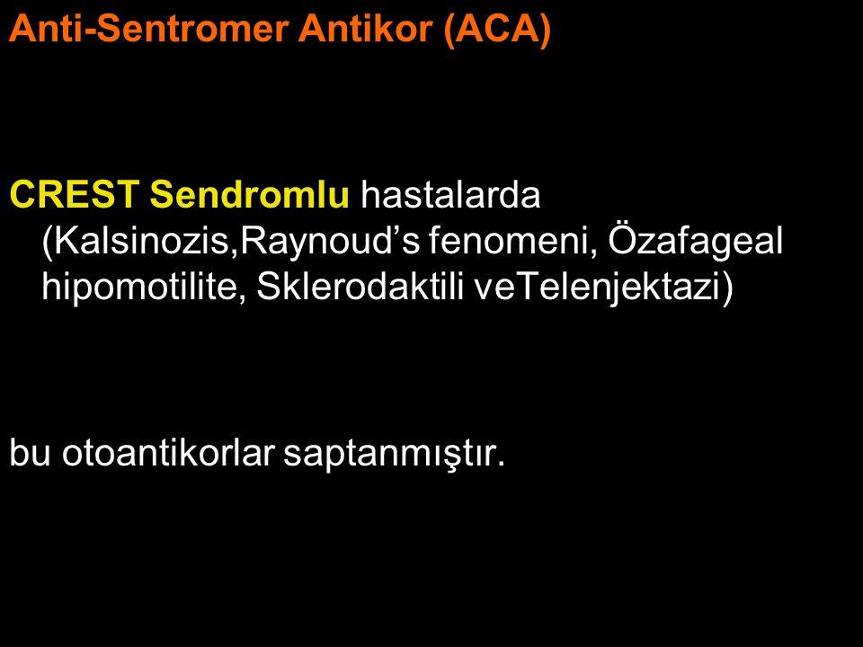 Anti-Sentromer Antikor (ACA) CREST Sendromlu hastalarda (Kalsinozis,Raynoud's fenomeni, Özafageal hipomotilite, Sklerodaktili veTelenjektazi) bu otoan