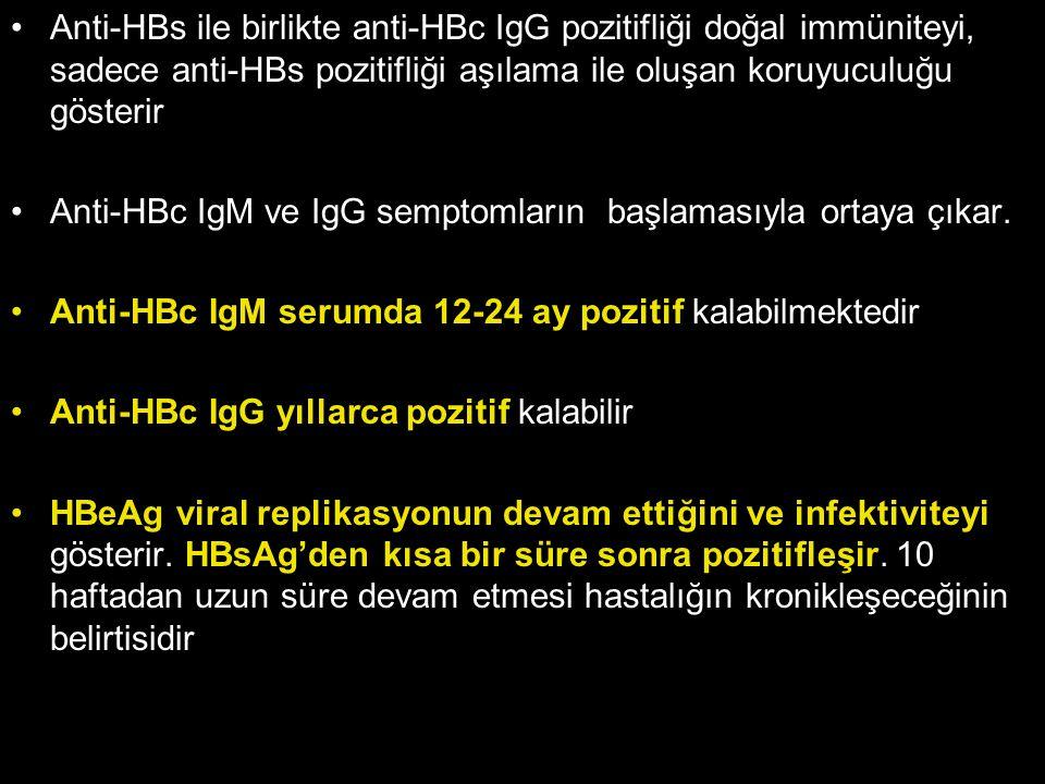 Anti-HBs ile birlikte anti-HBc IgG pozitifliği doğal immüniteyi, sadece anti-HBs pozitifliği aşılama ile oluşan koruyuculuğu gösterir Anti-HBc IgM ve