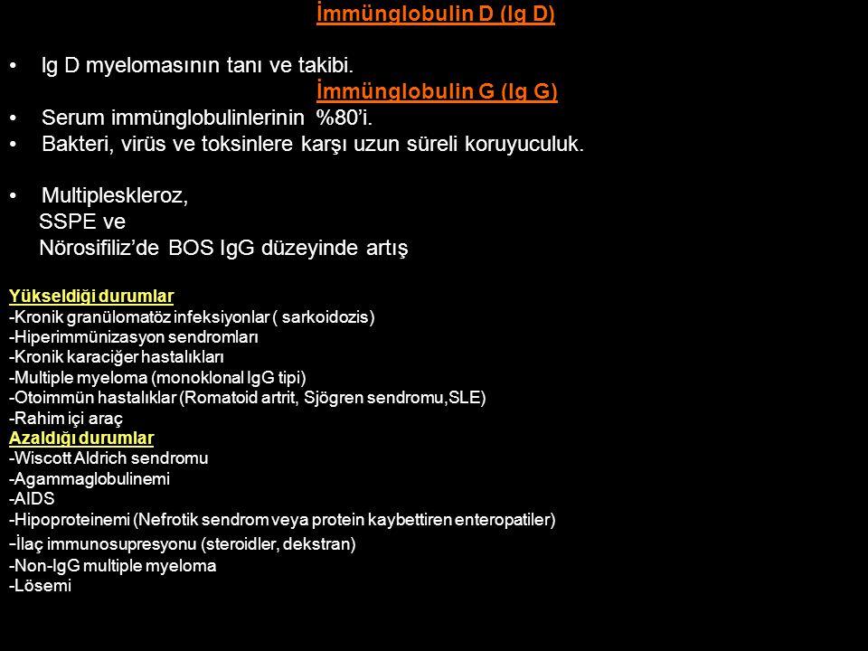 İmmünglobulin D (Ig D) lg D myelomasının tanı ve takibi. İmmünglobulin G (Ig G) Serum immünglobulinlerinin %80'i. Bakteri, virüs ve toksinlere karşı u