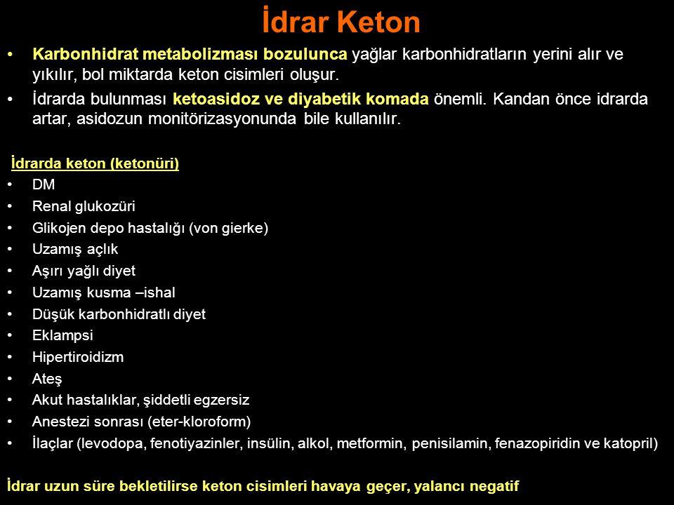 İdrar Keton Karbonhidrat metabolizması bozulunca yağlar karbonhidratların yerini alır ve yıkılır, bol miktarda keton cisimleri oluşur. İdrarda bulunma