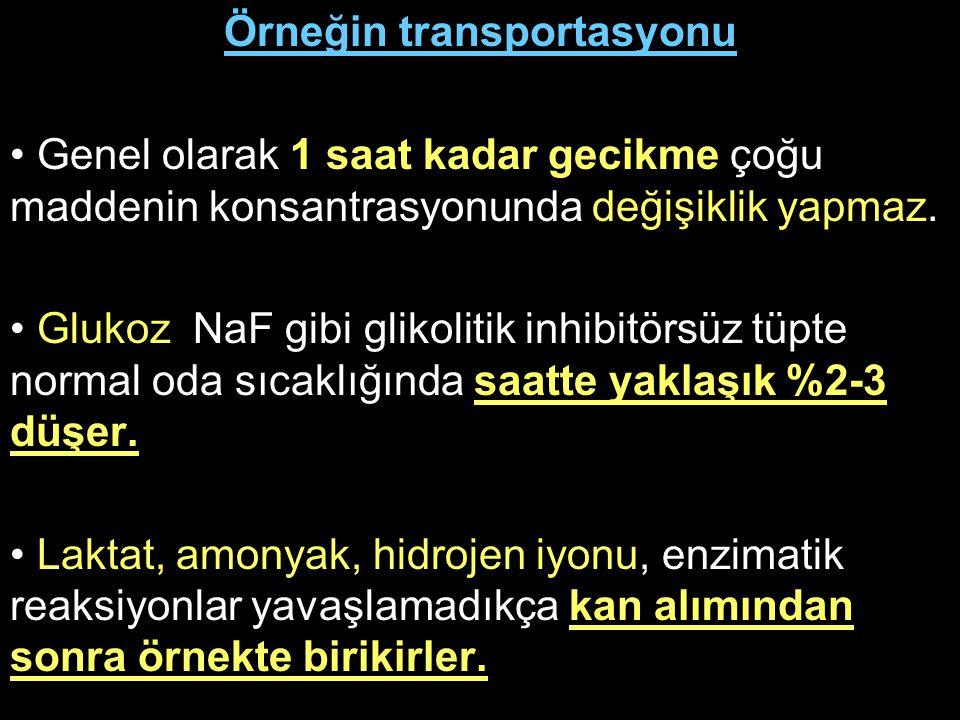Örneğin transportasyonu Genel olarak 1 saat kadar gecikme çoğu maddenin konsantrasyonunda değişiklik yapmaz. Glukoz NaF gibi glikolitik inhibitörsüz t