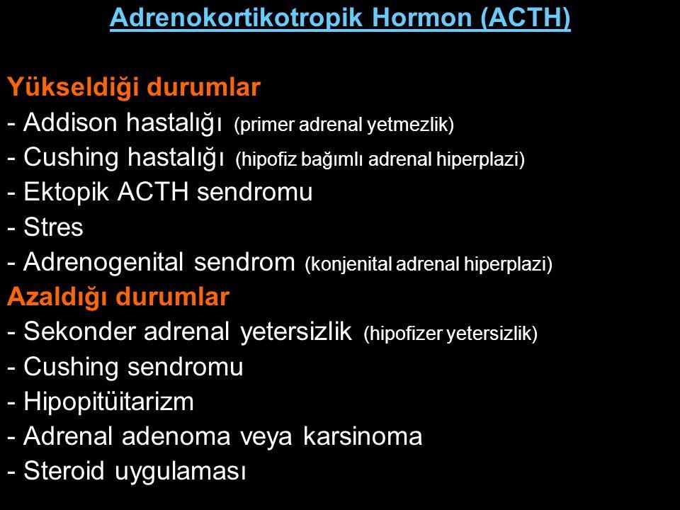 Adrenokortikotropik Hormon (ACTH) Yükseldiği durumlar - Addison hastalığı (primer adrenal yetmezlik) - Cushing hastalığı (hipofiz bağımlı adrenal hipe