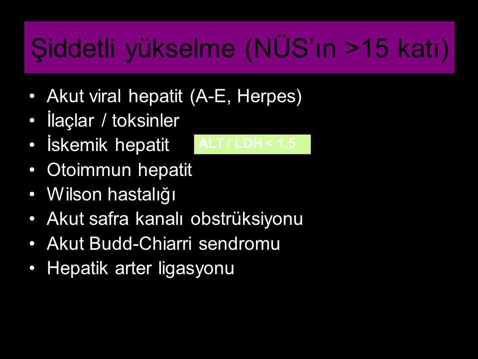Şiddetli yükselme (NÜS'ın >15 katı) Akut viral hepatit (A-E, Herpes) İlaçlar / toksinler İskemik hepatit Otoimmun hepatit Wilson hastalığı Akut safra