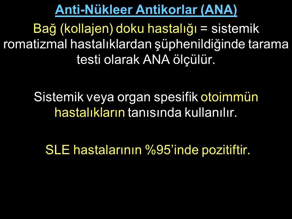 Anti-Nükleer Antikorlar (ANA) Bağ (kollajen) doku hastalığı = sistemik romatizmal hastalıklardan şüphenildiğinde tarama testi olarak ANA ölçülür. Sist
