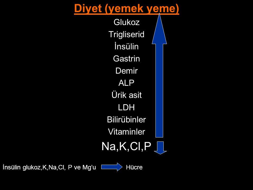 Diyet (yemek yeme) Glukoz Trigliserid İnsülin Gastrin Demir ALP Ürik asit LDH Bilirübinler Vitaminler Na,K,Cl,P İnsülin glukoz,K,Na,Cl, P ve Mg'u Hücr