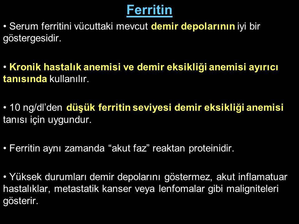 Ferritin Serum ferritini vücuttaki mevcut demir depolarının iyi bir göstergesidir. Kronik hastalık anemisi ve demir eksikliği anemisi ayırıcı tanısınd