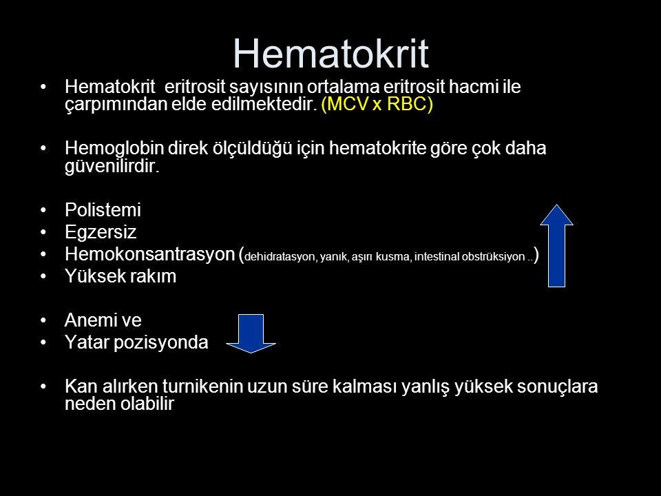 Hematokrit Hematokrit eritrosit sayısının ortalama eritrosit hacmi ile çarpımından elde edilmektedir. (MCV x RBC) Hemoglobin direk ölçüldüğü için hema