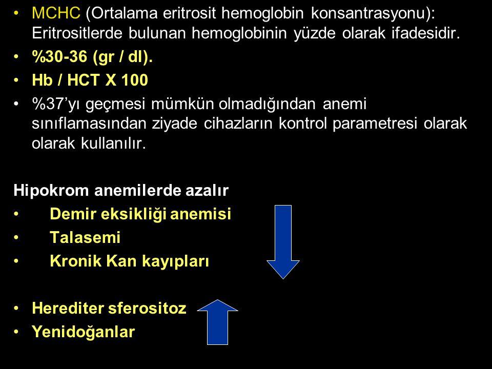 MCHC (Ortalama eritrosit hemoglobin konsantrasyonu): Eritrositlerde bulunan hemoglobinin yüzde olarak ifadesidir. %30-36 (gr / dl). Hb / HCT X 100 %37