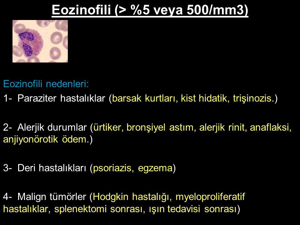 Eozinofili (> %5 veya 500/mm3) Eozinofili nedenleri: 1- Paraziter hastalıklar (barsak kurtları, kist hidatik, trişinozis.) 2- Alerjik durumlar (ürtike