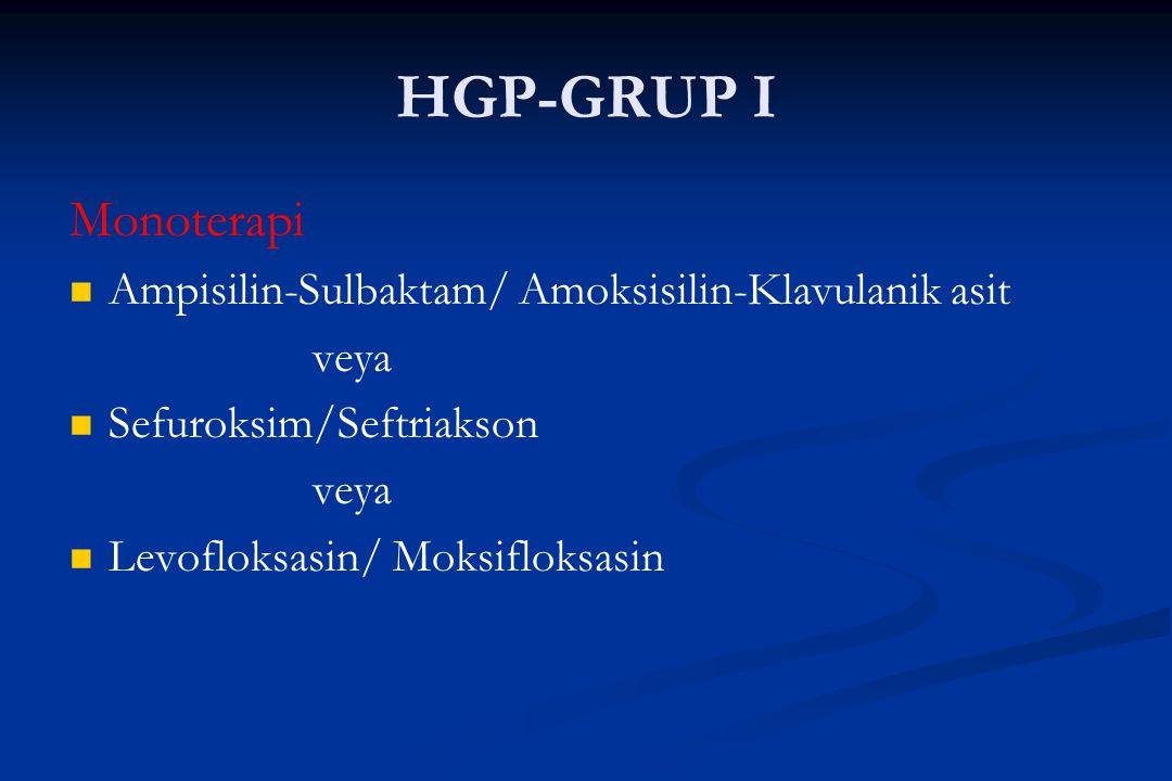 HGP-GRUP I Monoterapi Ampisilin-Sulbaktam/ Amoksisilin-Klavulanik asit veya Sefuroksim/Seftriakson veya Levofloksasin/ Moksifloksasin