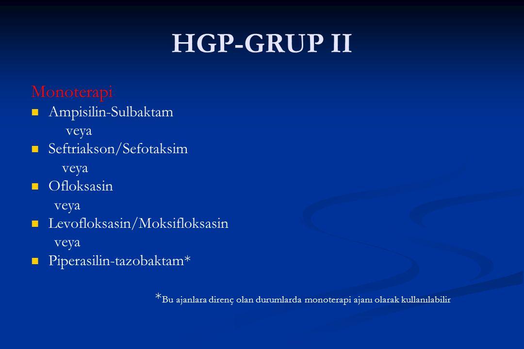 HGP-GRUP II Monoterapi Ampisilin-Sulbaktam veya Seftriakson/Sefotaksim veya Ofloksasin veya Levofloksasin/Moksifloksasin veya Piperasilin-tazobaktam*