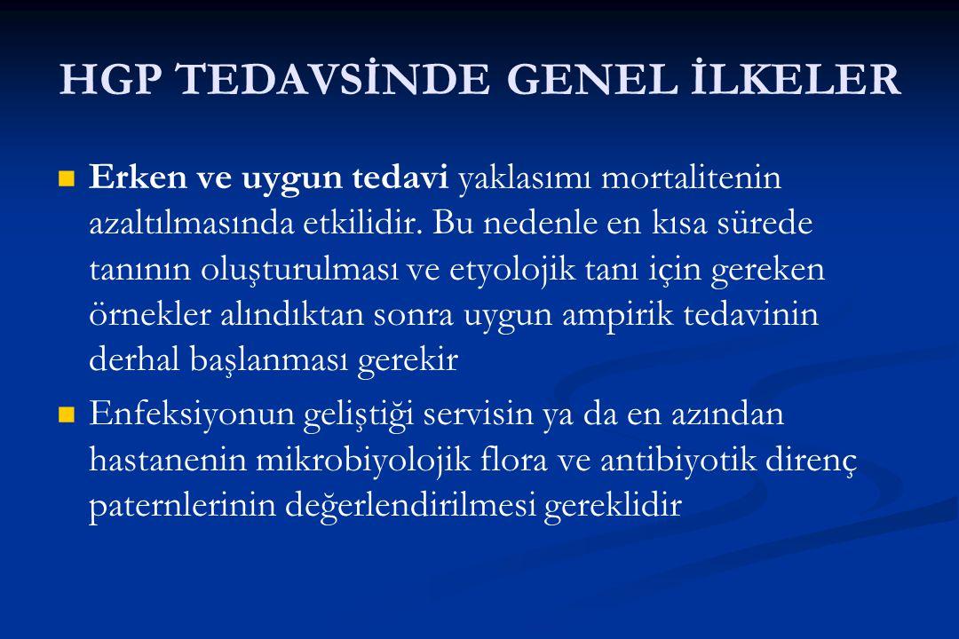 HGP TEDAVSİNDE GENEL İLKELER Erken ve uygun tedavi yaklasımı mortalitenin azaltılmasında etkilidir. Bu nedenle en kısa sürede tanının oluşturulması ve