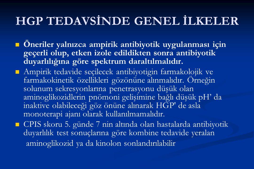 HGP TEDAVSİNDE GENEL İLKELER Öneriler yalnızca ampirik antibiyotik uygulanması için geçerli olup, etken izole edildikten sonra antibiyotik duyarlılığı