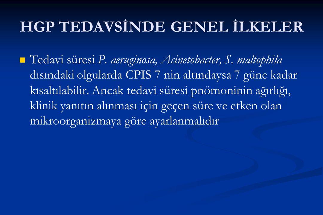HGP TEDAVSİNDE GENEL İLKELER Tedavi süresi P. aeruginosa, Acinetobacter, S. maltophila dısındaki olgularda CPIS 7 nin altındaysa 7 güne kadar kısaltıl