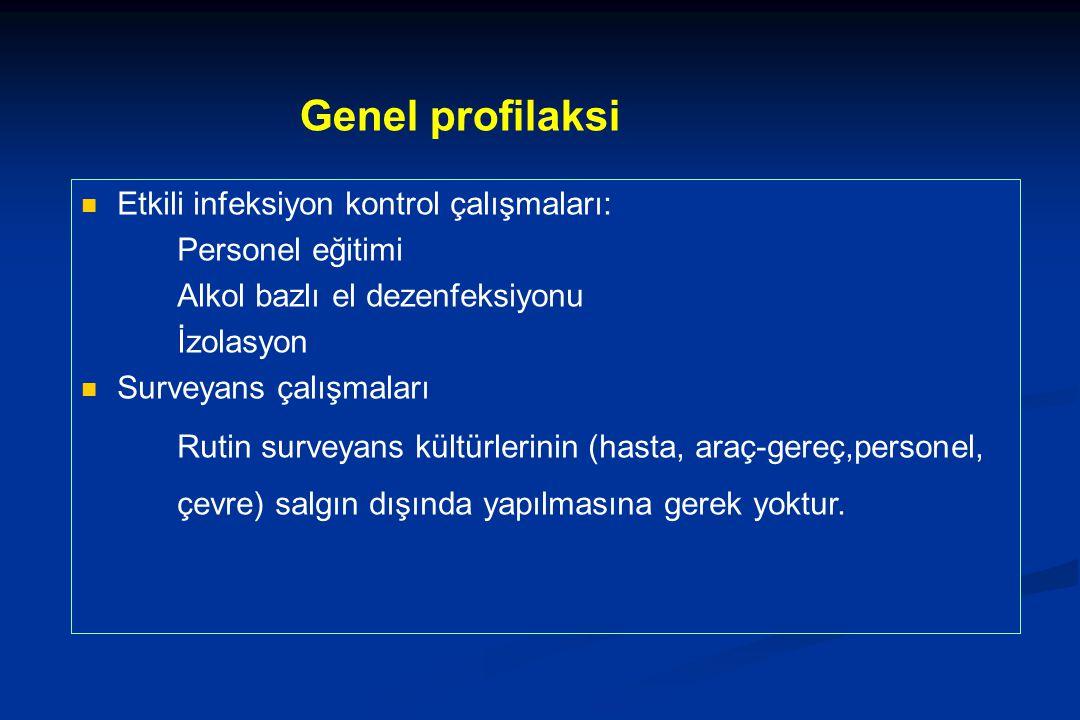 Genel profilaksi Etkili infeksiyon kontrol çalışmaları: Personel eğitimi Alkol bazlı el dezenfeksiyonu İzolasyon Surveyans çalışmaları Rutin surveyans