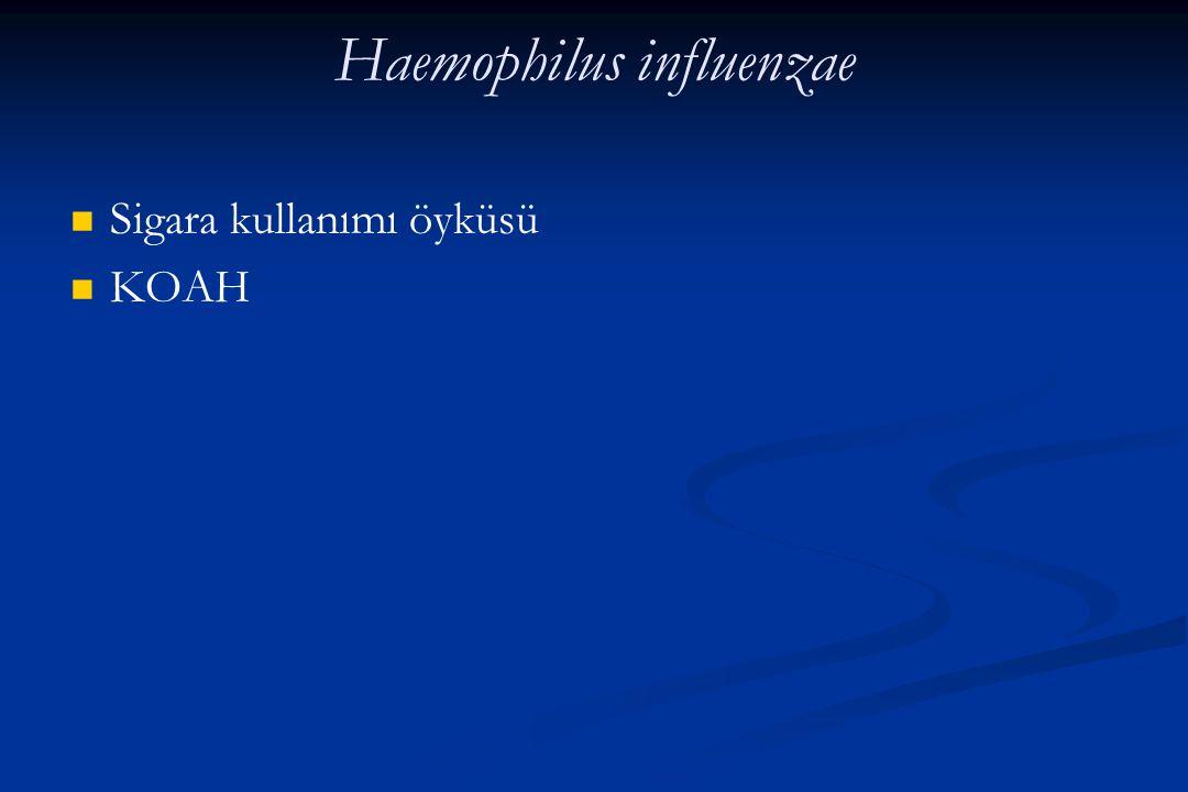 Haemophilus influenzae Sigara kullanımı öyküsü KOAH