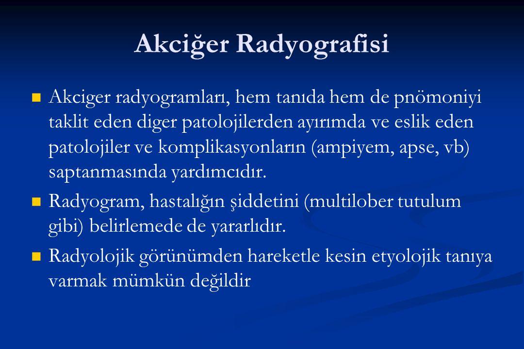 Akciğer Radyografisi Akciger radyogramları, hem tanıda hem de pnömoniyi taklit eden diger patolojilerden ayırımda ve eslik eden patolojiler ve komplik