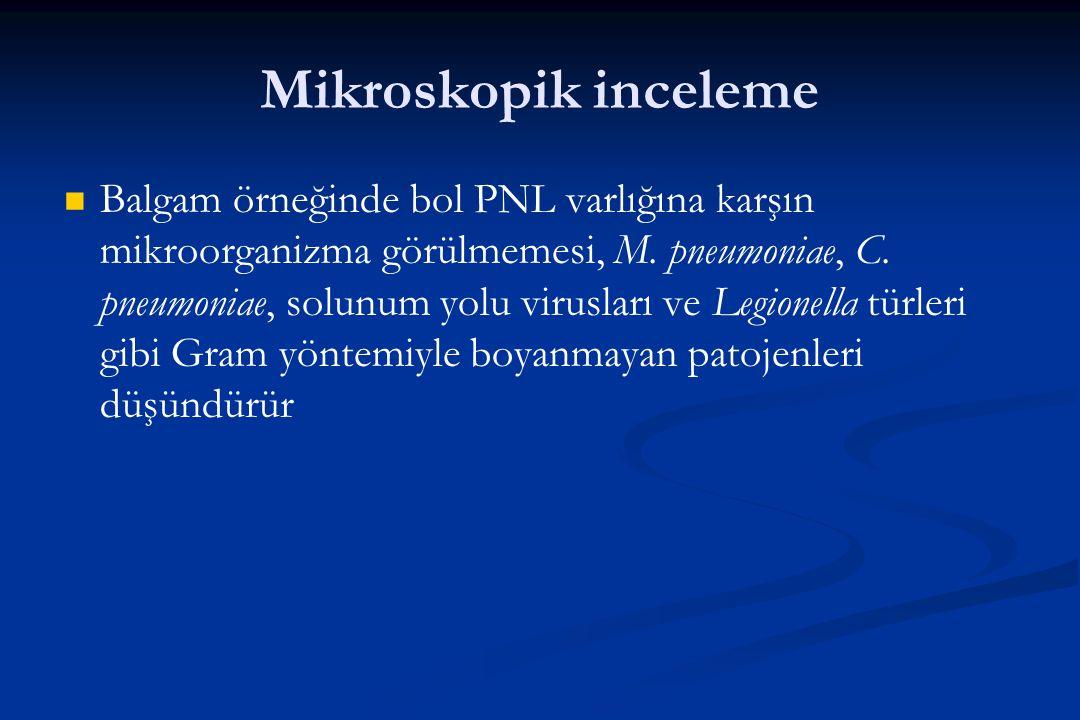 Mikroskopik inceleme Balgam örneğinde bol PNL varlığına karşın mikroorganizma görülmemesi, M. pneumoniae, C. pneumoniae, solunum yolu virusları ve Leg
