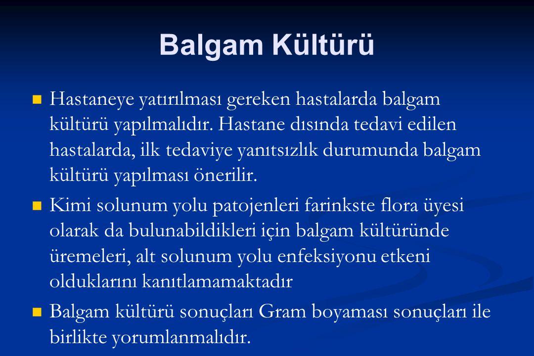 Balgam Kültürü Hastaneye yatırılması gereken hastalarda balgam kültürü yapılmalıdır. Hastane dısında tedavi edilen hastalarda, ilk tedaviye yanıtsızlı