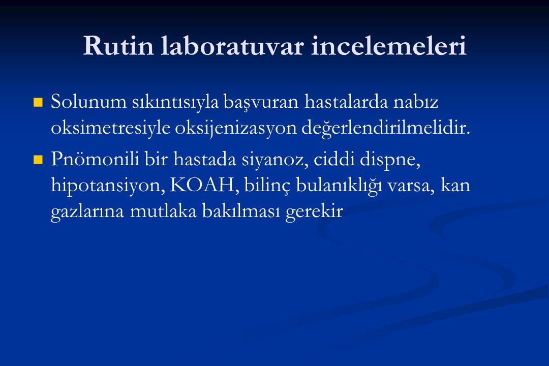 Rutin laboratuvar incelemeleri Solunum sıkıntısıyla başvuran hastalarda nabız oksimetresiyle oksijenizasyon değerlendirilmelidir. Pnömonili bir hastad