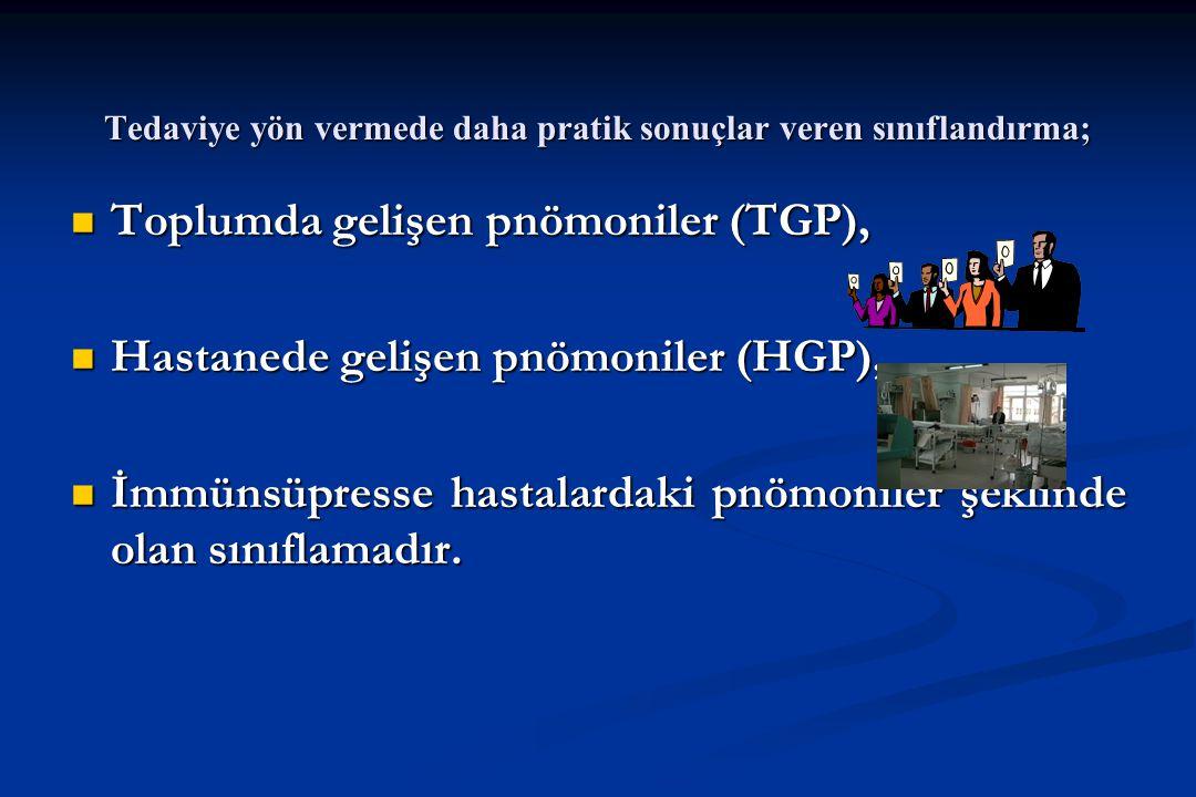 Tedaviye yön vermede daha pratik sonuçlar veren sınıflandırma; Toplumda gelişen pnömoniler (TGP), Toplumda gelişen pnömoniler (TGP), Hastanede gelişen