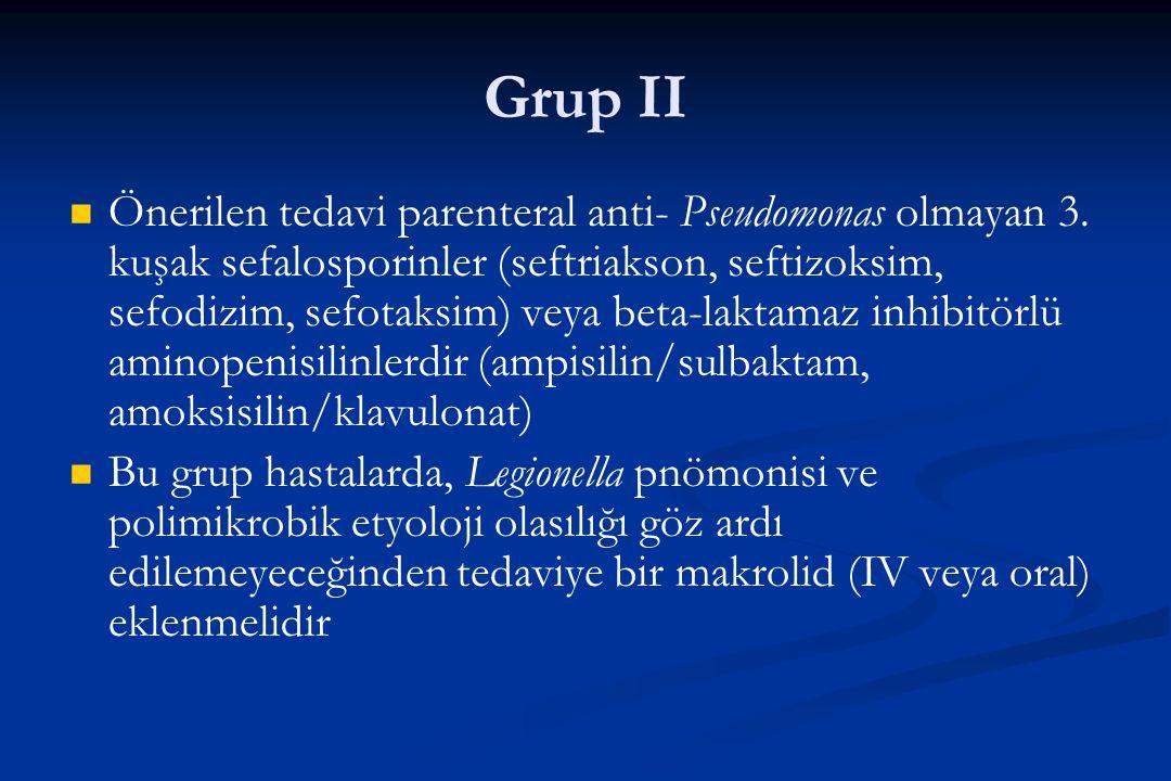 Grup II Önerilen tedavi parenteral anti- Pseudomonas olmayan 3. kuşak sefalosporinler (seftriakson, seftizoksim, sefodizim, sefotaksim) veya beta-lakt