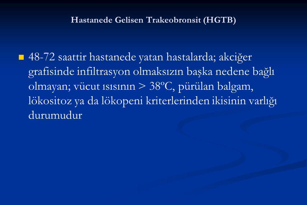 Hastanede Gelisen Trakeobronsit (HGTB) 48-72 saattir hastanede yatan hastalarda; akciğer grafisinde infiltrasyon olmaksızın başka nedene bağlı olmayan