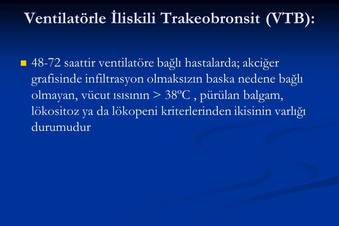 Ventilatörle İliskili Trakeobronsit (VTB): 48-72 saattir ventilatöre bağlı hastalarda; akciğer grafisinde infiltrasyon olmaksızın baska nedene bağlı o
