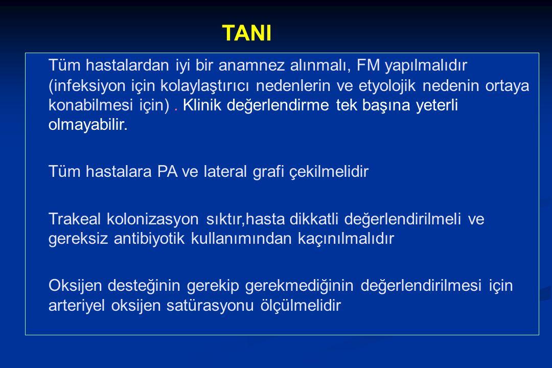 TANI Tüm hastalardan iyi bir anamnez alınmalı, FM yapılmalıdır (infeksiyon için kolaylaştırıcı nedenlerin ve etyolojik nedenin ortaya konabilmesi için