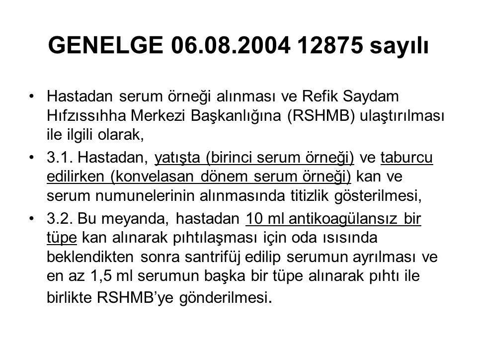GENELGE 06.08.2004 12875 sayılı Hastadan serum örneği alınması ve Refik Saydam Hıfzıssıhha Merkezi Başkanlığına (RSHMB) ulaştırılması ile ilgili olarak, 3.1.