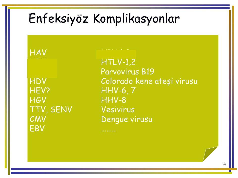 65 Plazma ve ürünleri ile geçen Batı Nil virusu HAV Parvovirus B19 TTV Trombosit süspansiyonu HTLV-I/II Batı Nil virusu Parvovirus B19 Eritrosit süspansiyonu ile geçen Kolorada Kene Ateşi Virusu Batı Nil virusu Parvovirus B19 Lökositler ile geçen CMV EBV HHV 6-8 HTLV I-II TTV