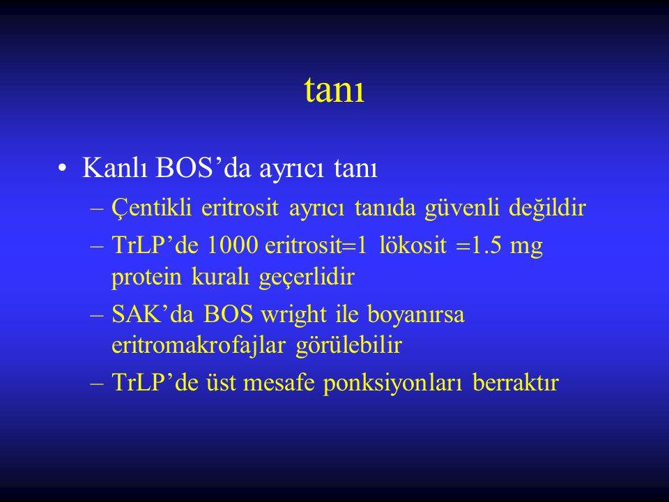 tanı Kanlı BOS'da ayrıcı tanı –Çentikli eritrosit ayrıcı tanıda güvenli değildir –TrLP'de 1000 eritrosit  1 lökosit  1.5 mg protein kuralı geçerlidi