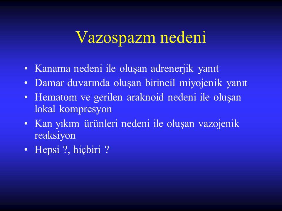 Vazospazm nedeni Kanama nedeni ile oluşan adrenerjik yanıt Damar duvarında oluşan birincil miyojenik yanıt Hematom ve gerilen araknoid nedeni ile oluş