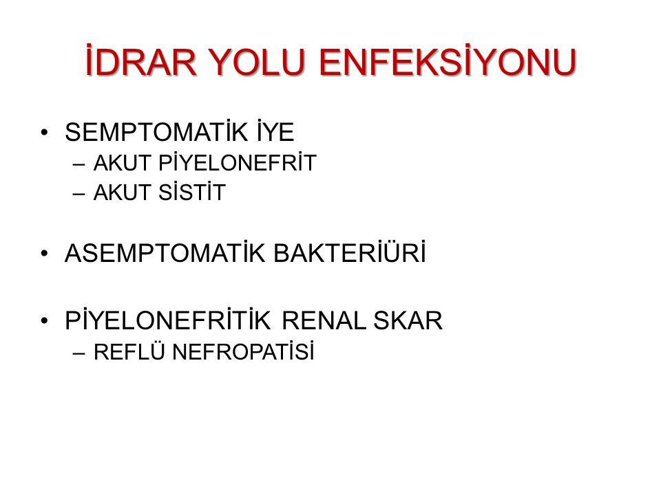 İDRAR YOLU ENFEKSİYONLARI 1)İLK İYE 2)TEKRARLAYAN İYE -Gerilemeyen bakteriüri -Bakteriürinin devamlılık göstermesi (persistence) -Reenfeksiyon 1)KOMPLİKE OLMAYAN ALT ÜRİNER SİSTEM ENFEKSİYONLARI -Sistit -Üretrit 2) KOMPLİKE OLMAYAN ÜST ÜRİNER SİSTEM ENFEKSİYONLARI -Üreterit -Piyelit 3) BÖBREK PARANKİMİ ENFEKSİYONU -Piyelonefrit