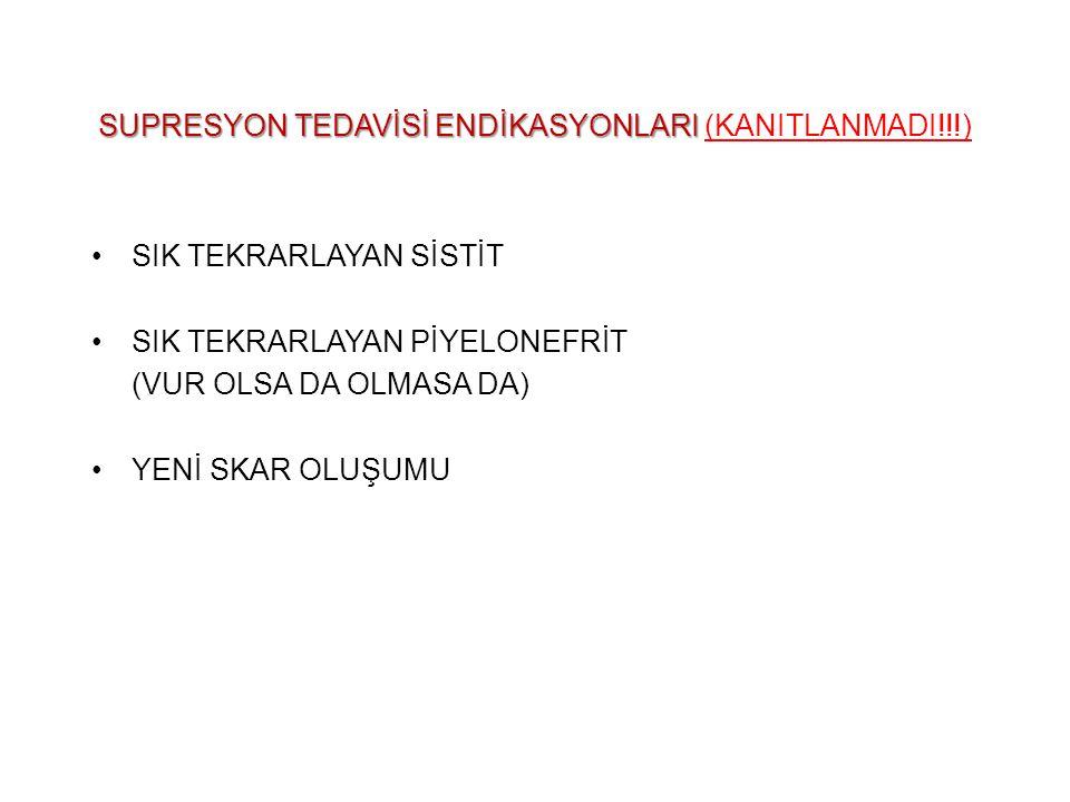SUPRESYON TEDAVİSİ ENDİKASYONLARI SUPRESYON TEDAVİSİ ENDİKASYONLARI (KANITLANMADI!!!) SIK TEKRARLAYAN SİSTİT SIK TEKRARLAYAN PİYELONEFRİT (VUR OLSA DA