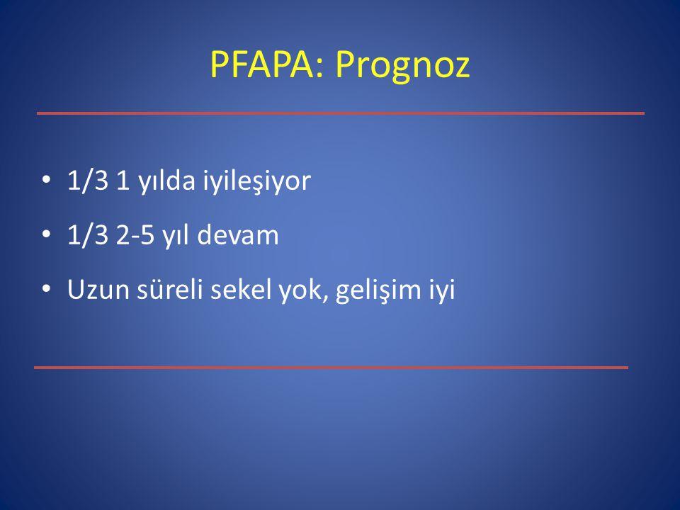 PFAPA: Prognoz 1/3 1 yılda iyileşiyor 1/3 2-5 yıl devam Uzun süreli sekel yok, gelişim iyi
