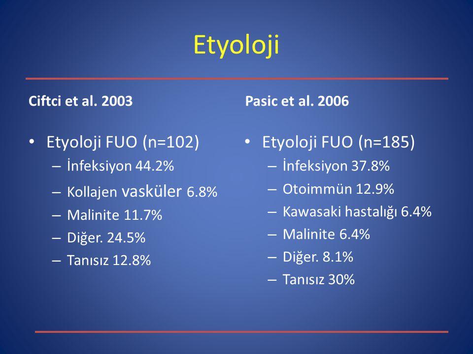 Etyoloji Ciftci et al. 2003 Etyoloji FUO (n=102) – İnfeksiyon 44.2% – Kollajen vasküler 6.8% – Malinite 11.7% – Diğer. 24.5% – Tanısız 12.8% Pasic et