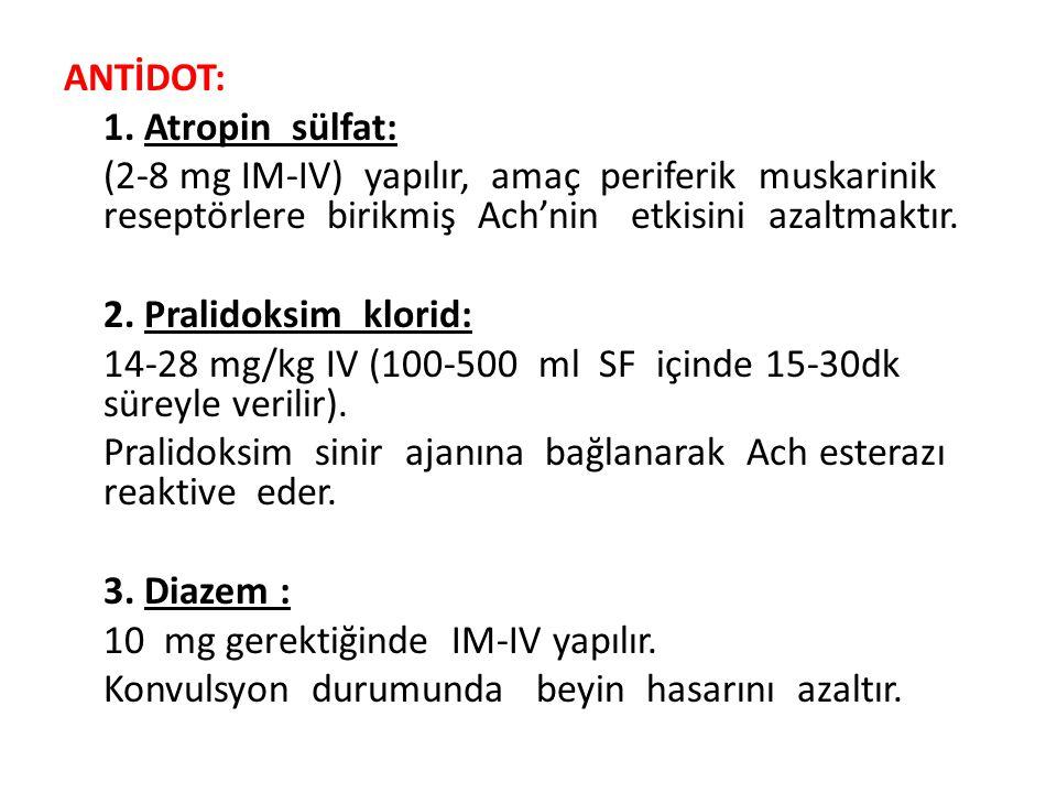 ANTİDOT: 1. Atropin sülfat: (2-8 mg IM-IV) yapılır, amaç periferik muskarinik reseptörlere birikmiş Ach'nin etkisini azaltmaktır. 2. Pralidoksim klori