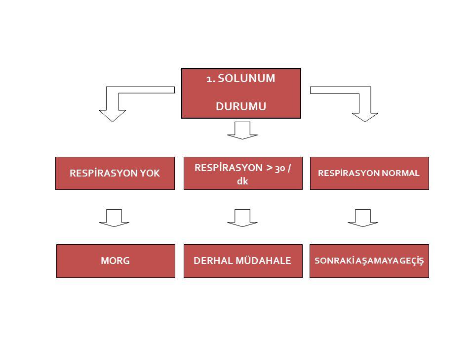 1. SOLUNUM DURUMU RESPİRASYON > 30 / dk SONRAKİ AŞAMAYA GEÇİŞ DERHAL MÜDAHALE RESPİRASYON YOK RESPİRASYON NORMAL MORG