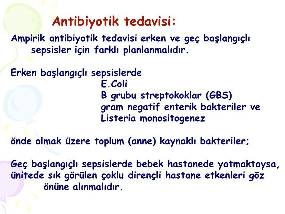 Bu öngörü ışığında antibiyotik tedavisi şu şekilde yapılır: A) Ampirik tedavi: Erken sepsiste: AMPİSİLİN (veya PENİSİLİN G) + AMİNOGLİKOZİT veya SEFOTAKSİM
