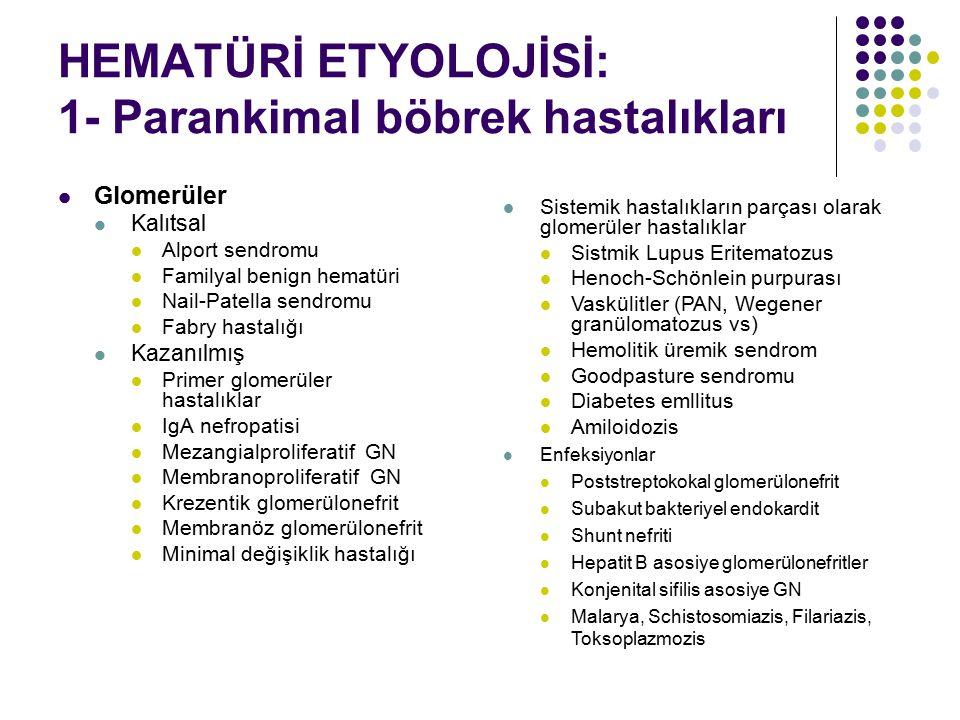 HEMATÜRİ ETYOLOJİSİ: 1- Parankimal böbrek hastalıkları Glomerüler Kalıtsal Alport sendromu Familyal benign hematüri Nail-Patella sendromu Fabry hastal