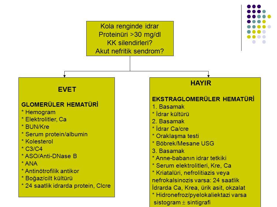 Kola renginde idrar Proteinüri >30 mg/dl KK silendirleri? Akut nefritik sendrom? EVET GLOMERÜLER HEMATÜRİ * Hemogram * Elektrolitler, Ca * BUN/Kre * S