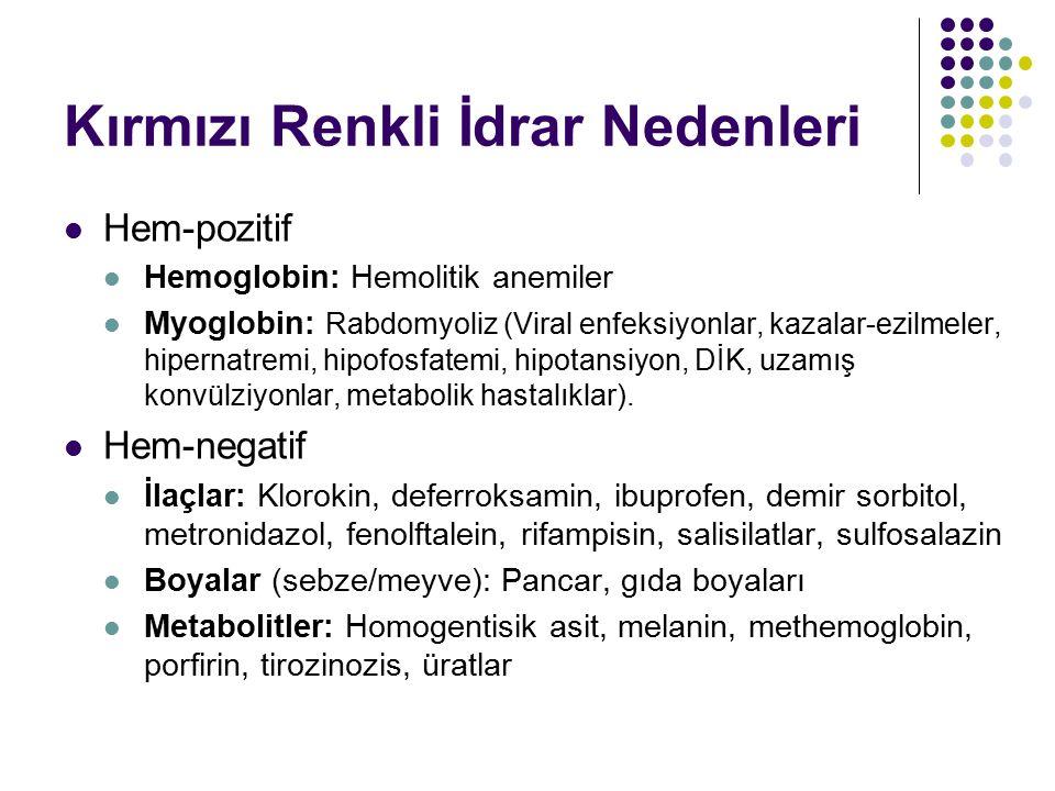 Kırmızı Renkli İdrar Nedenleri Hem-pozitif Hemoglobin: Hemolitik anemiler Myoglobin: Rabdomyoliz (Viral enfeksiyonlar, kazalar-ezilmeler, hipernatremi