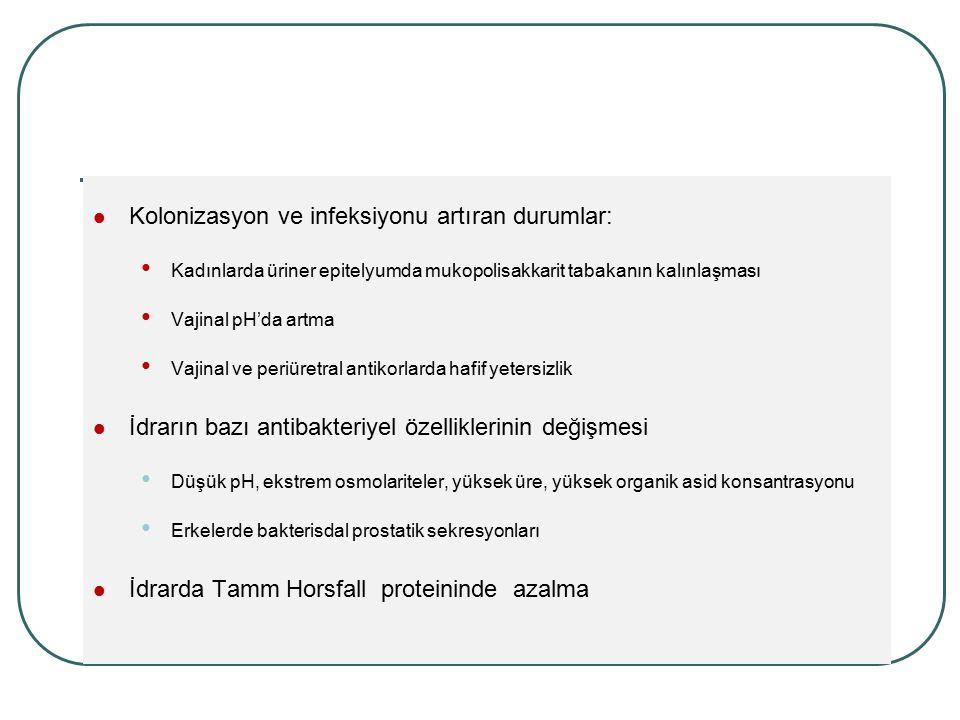 Kolonizasyon ve infeksiyonu artıran durumlar: Kadınlarda üriner epitelyumda mukopolisakkarit tabakanın kalınlaşması Vajinal pH'da artma Vajinal ve per