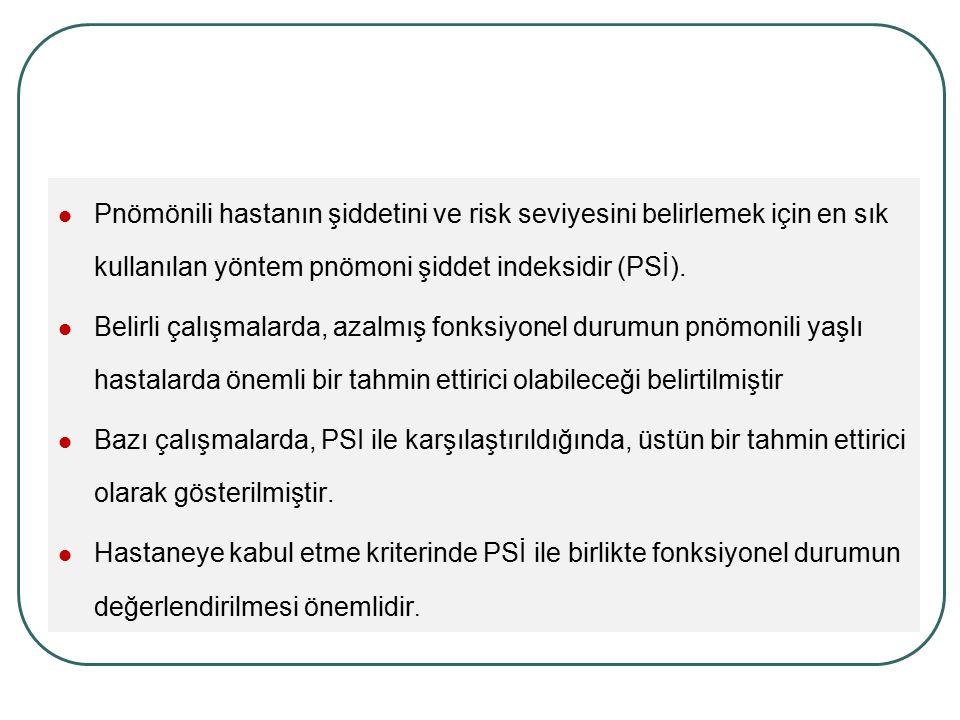 Pnömönili hastanın şiddetini ve risk seviyesini belirlemek için en sık kullanılan yöntem pnömoni şiddet indeksidir (PSİ). Belirli çalışmalarda, azalmı