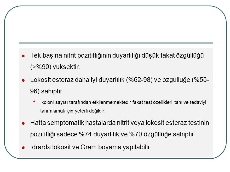 Tek başına nitrit pozitifliğinin duyarlılığı düşük fakat özgüllüğü (>%90) yüksektir. Lökosit esteraz daha iyi duyarlılık (%62-98) ve özgüllüğe (%55- 9