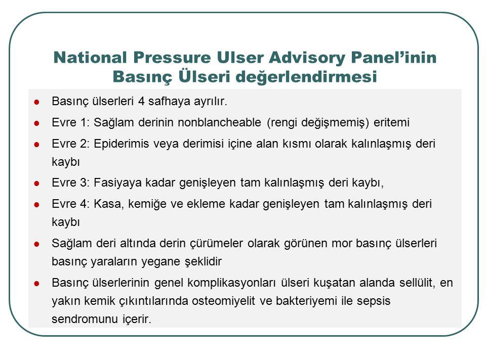 National Pressure Ulser Advisory Panel'inin Basınç Ülseri değerlendirmesi Basınç ülserleri 4 safhaya ayrılır. Evre 1: Sağlam derinin nonblancheable (r