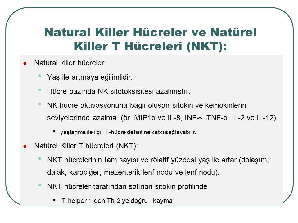 Natural Killer Hücreler ve Natürel Killer T Hücreleri (NKT): Natural killer hücreler: Yaş ile artmaya eğilimlidir. Hücre bazında NK sitotoksisitesi az