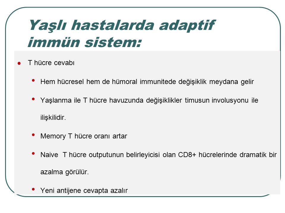 Yaşlı hastalarda adaptif immün sistem: T hücre cevabı Hem hücresel hem de hümoral immunitede değişiklik meydana gelir Yaşlanma ile T hücre havuzunda d